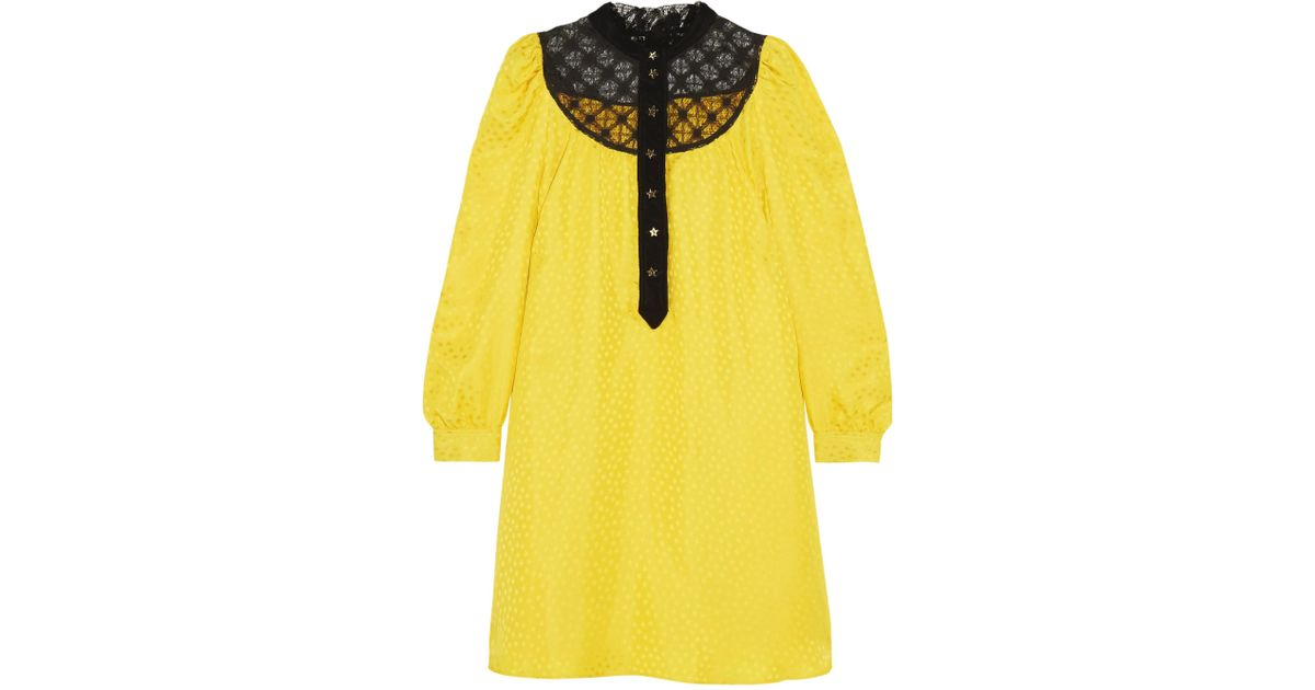 Lace And Velvet-trimmed Satin-jacquard Mini Dress - Yellow Philosophy di Lorenzo Serafini 8IpmsL