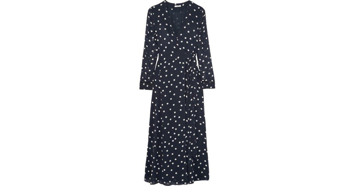 d6067b01d0be Ganni Woman Barra Polka-dot Chiffon Midi Wrap Dress Midnight Blue in Blue -  Save 52% - Lyst