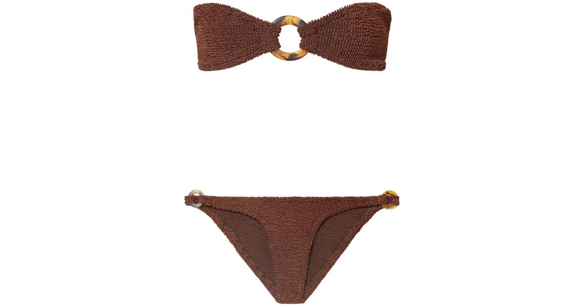 51961d5f7549 Hunza G Embellished Seersucker Bandeau Bikini in Brown - Lyst