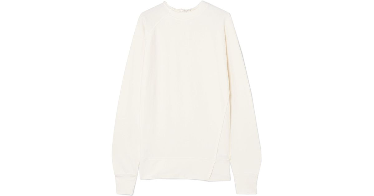 Frayed Cotton-jersey Sweatshirt - Cream Helmut Lang