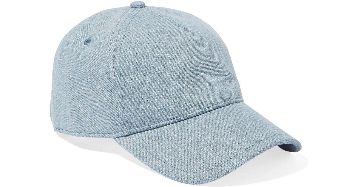 2fd8991b0e6f3 Rag   Bone Marilyn Leather-trimmed Denim Baseball Cap in Blue - Lyst