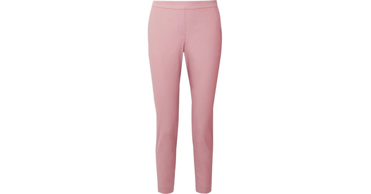 Thaniel Cropped Stretch Cotton-blend Twill Slim-leg Pants - Baby pink Theory FKRumqR
