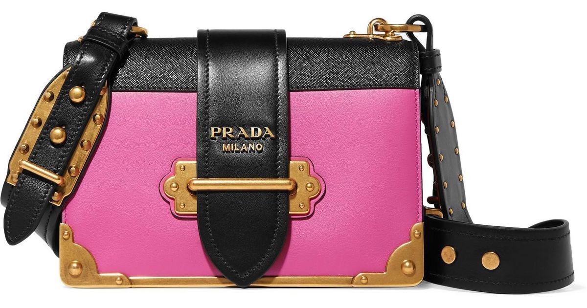 1a33f840d6e8 ... australia lyst prada cahier small two tone leather shoulder bag in pink  8062e da2e7