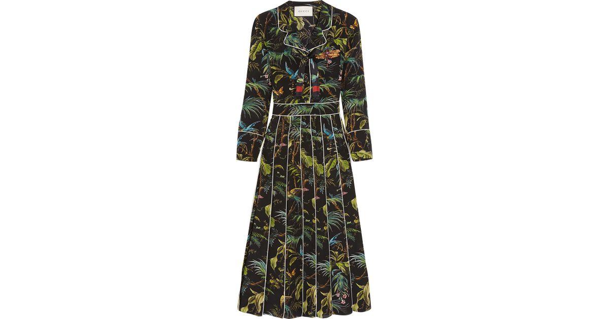 0287759af Gucci Embellished Printed Silk Crepe De Chine Midi Dress in Black - Lyst