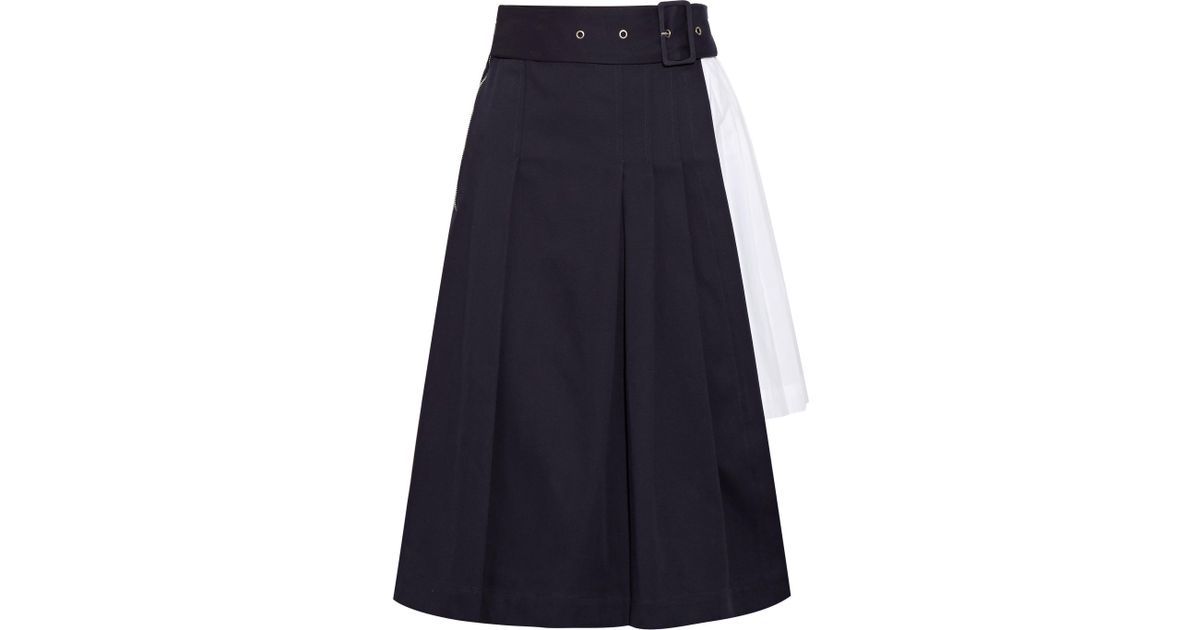 Pleated Cotton-twill And Poplin Skirt - Navy Sea New York Discount In China Buy Cheap Best Place Clearance Cost siY4aqiP