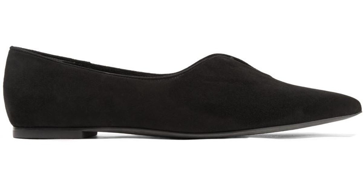 8134e989529f9 Lyst - Tory Burch Woman Lucia Oxford Suede Point-toe Flats Black in Black