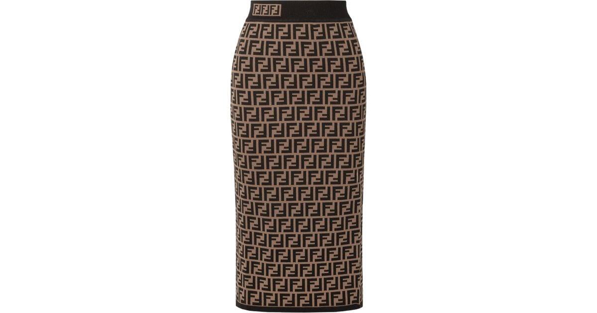 13304219927a Lyst - Fendi Jacquard-knit Midi Skirt in Black