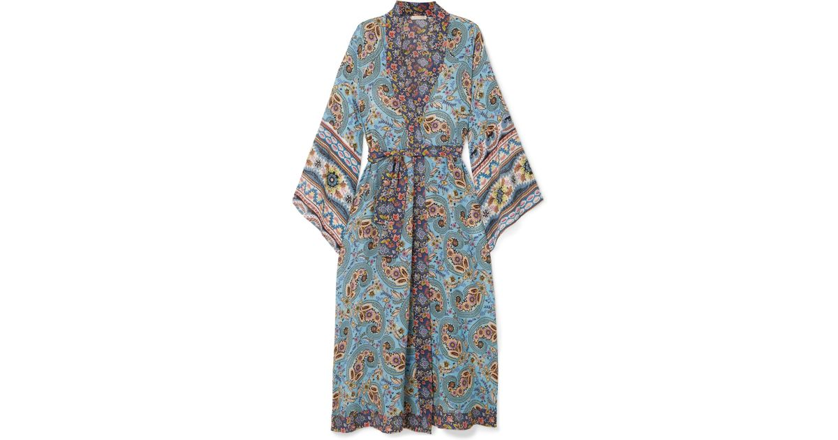 Kandela Printed Silk Crepe De Chine Robe - Light denim Anjuna 6l8TJGTb