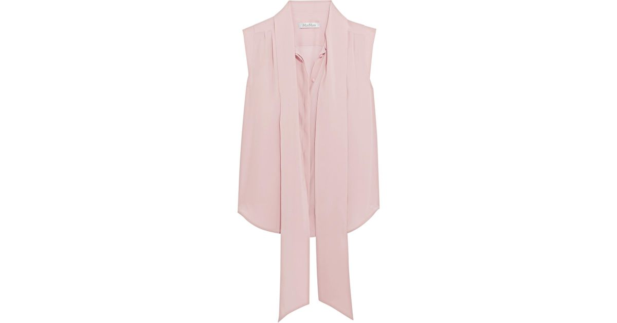 704f0c1d6bfb7 Lyst - Max Mara Pussy-bow Washed-silk Blouse in Pink