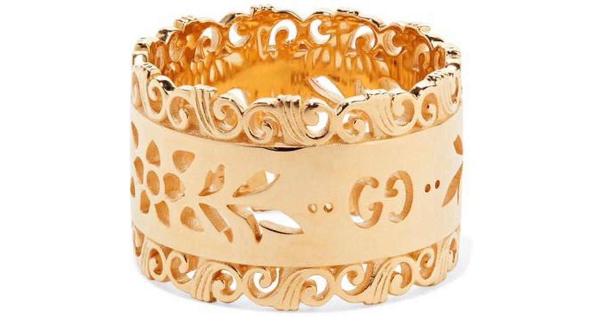 f30f9cab7e08ce Gucci Icon Blooms 18-karat Gold Ring in Metallic - Lyst