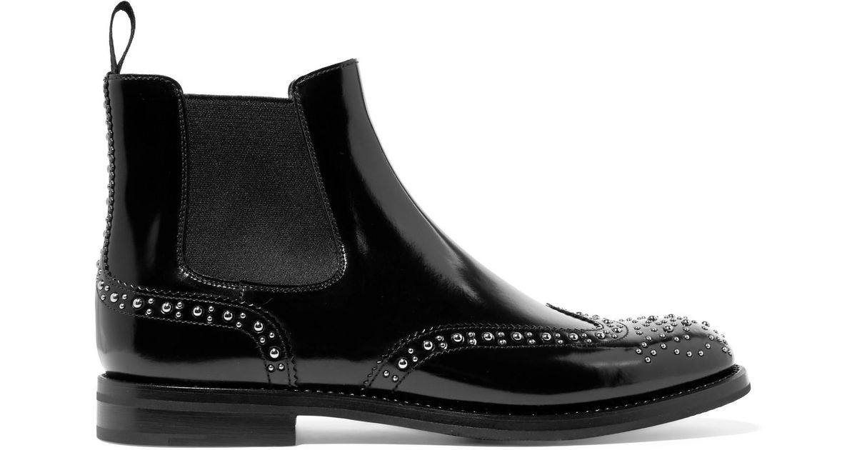 a3a89b804316 Lyst - Church s Ketsby Met Studded Glossed-leather Chelsea Boots in Black