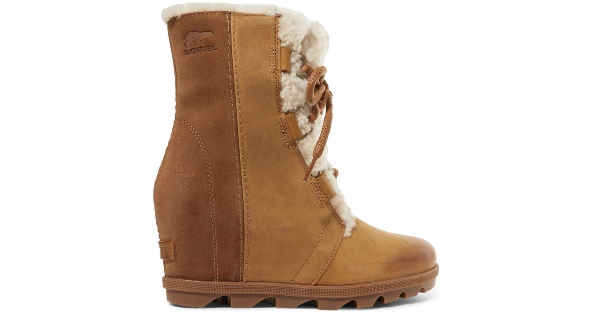 2257812ea5f9 Sorel Joan Of Arctic Wedge Ii Shearling-trimmed Waterproof Leather And Suede  Ankle Boots in Brown - Lyst