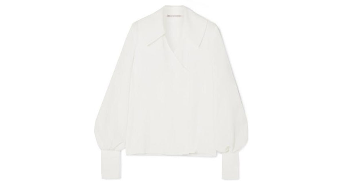 e9d8f190e71db8 Emilia Wickstead Wide Collar Wrap-effect Crepe Blouse in White - Lyst
