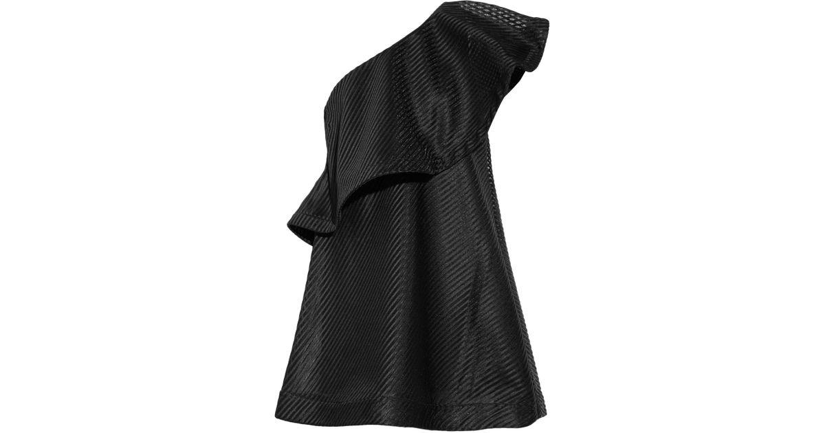 Lyst Halston One Shoulder Striped Mesh Mini Dress In Black