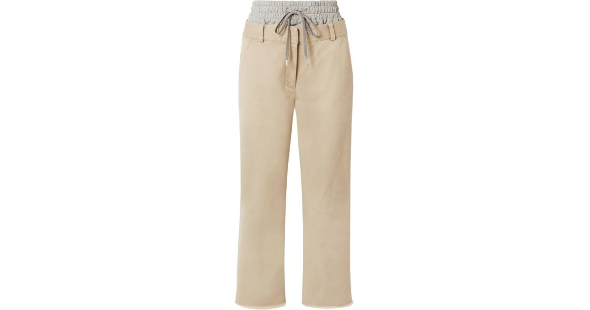 Coton Gabardine Couches Et Extensibles En Jersey Pantalon À Jambe Droite - Beige Alexander Wang ebHkkO6