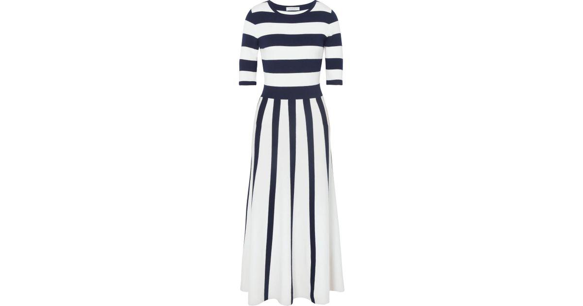 Capote Striped Wool-blend Midi Dress - Navy Gabriela Hearst ucIe5LPxpM