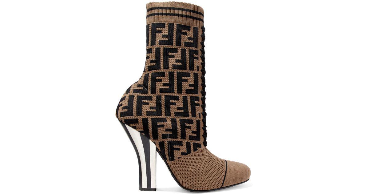Logo-jacquard Stretch-knit And Mesh Sock Boots - White Fendi Professional For Sale yFrSH