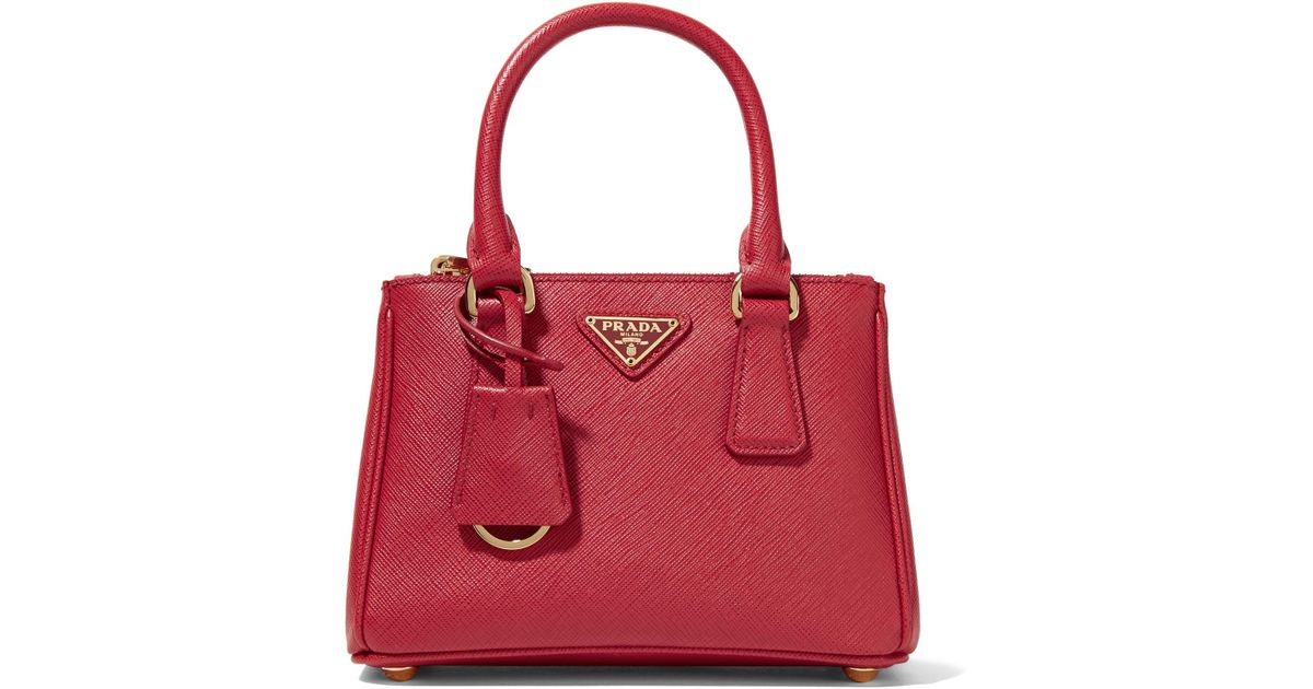 aebf2201f9 Lyst - Prada Galleria Baby Textured-Leather Tote in Red
