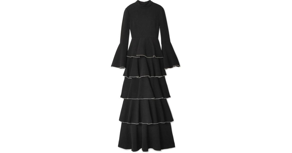 Paola Tiered Crystal-embellished Crepe Maxi Dress - Black Rachel Zoe XzYOXK9ubo