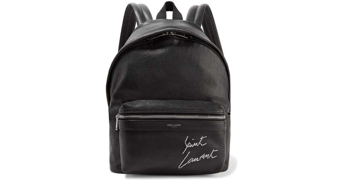 Lyst - Saint Laurent Mini Toy City Embroidered Textured-leather Backpack in  Black 26bb56968c