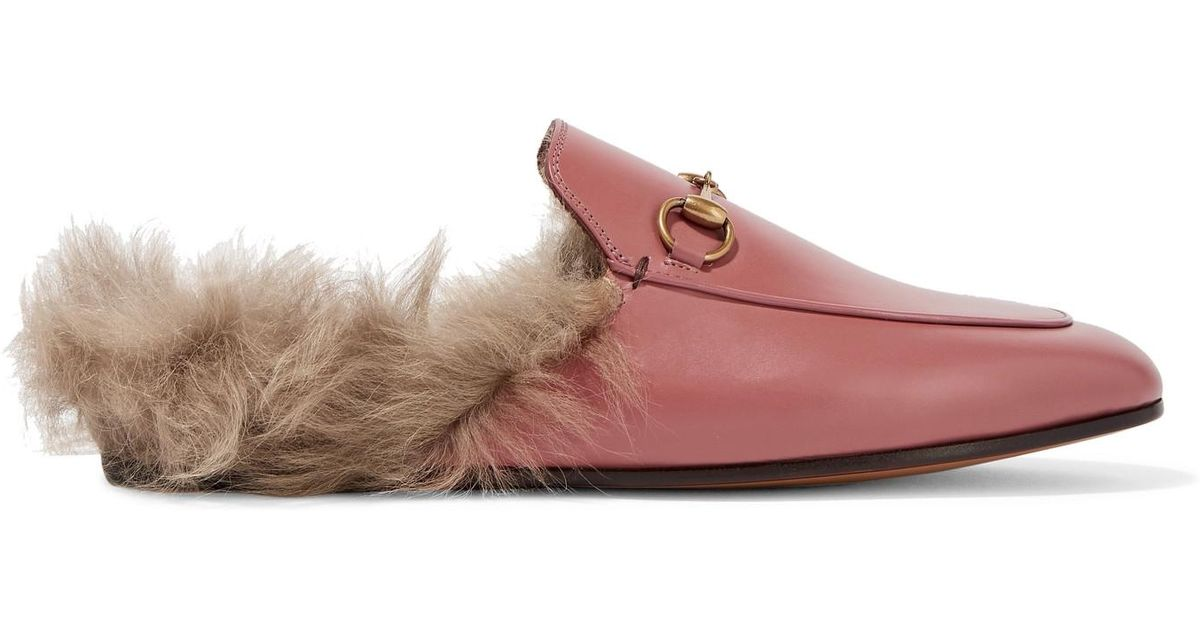 a6beea5fe81 Gucci Princetown Horsebit-detailed Shearling-lined Leather Slippers in Pink  - Lyst