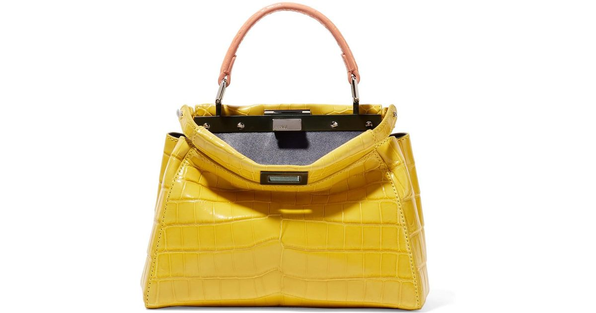 cd32dbedd9 Fendi Peekaboo Mini Crocodile Shoulder Bag in Yellow - Lyst