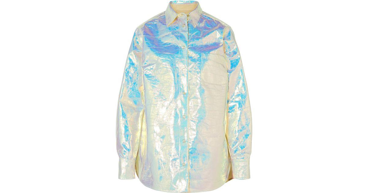 dc9eb127138b7 Sies Marjan Sander Iridescent Coated-cotton Shirt in Blue - Lyst