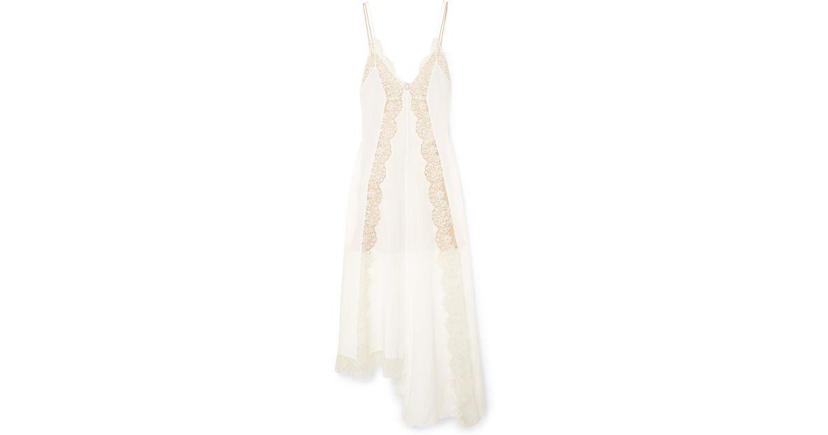 ab407f935 Stella McCartney Asymmetric Lace-trimmed Silk Crepe De Chine Dress in White  - Lyst