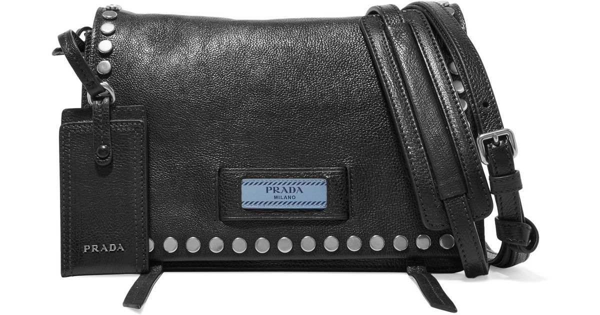Lyst - Prada Etiquette Small Studded Textured-leather Shoulder Bag in Black 13fe1cab769ad