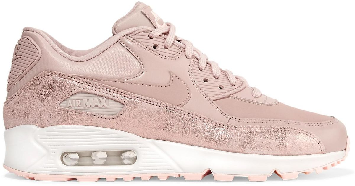 reputable site 7c9e0 6f133 ... sale lyst nike air max 90 premium cracked metallic suede leather and  mesh sneakers in pink