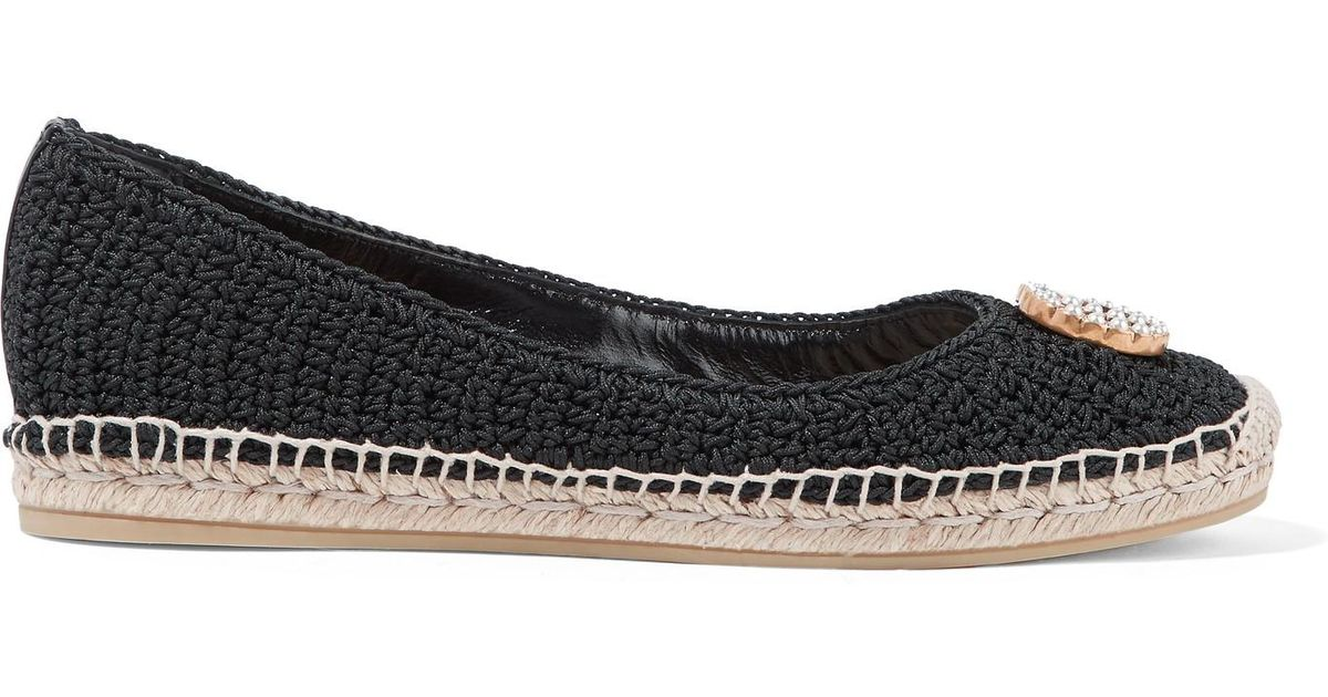 d65e08abcf5d Gucci Lilibeth Logo-embellished Crocheted Cotton Espadrilles in Black - Save  20% - Lyst