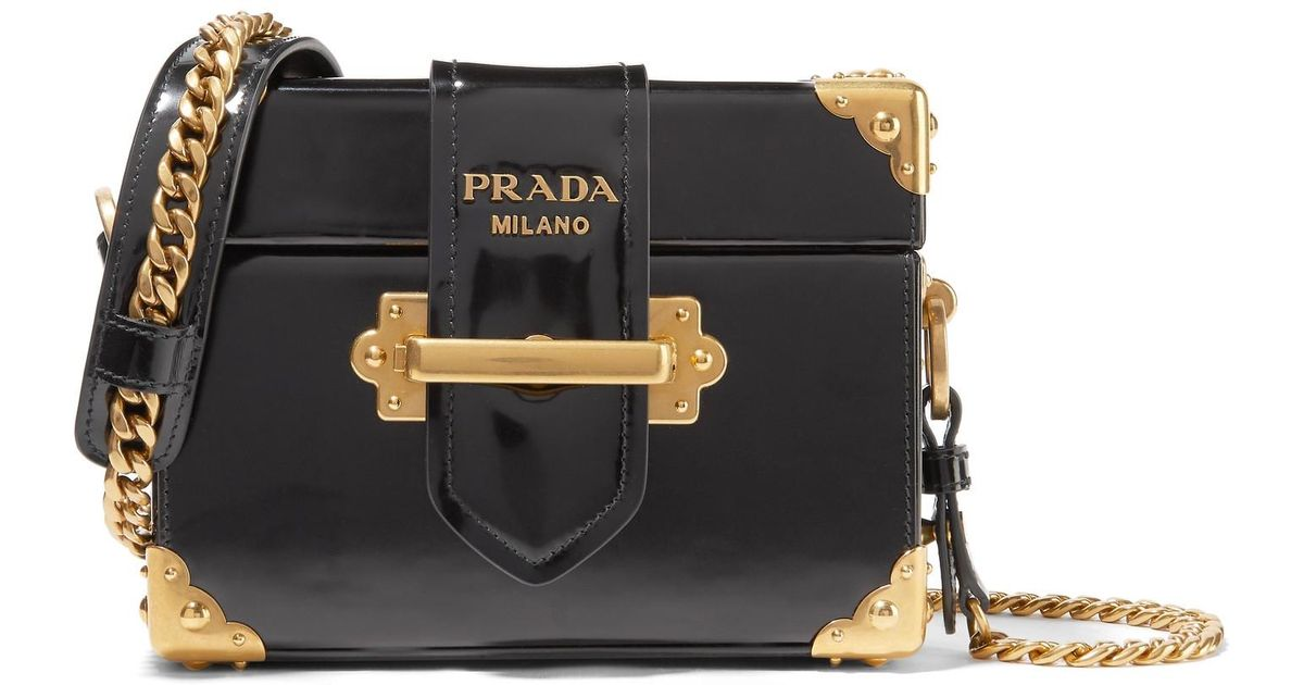 93d28834ac60 Lyst - Prada Cahier Box Patent-leather Shoulder Bag in Black