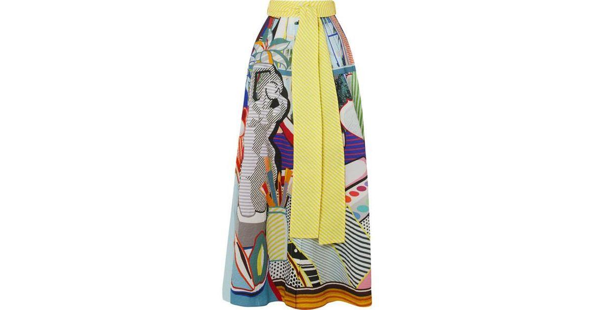 c388c1749f Mary Katrantzou Camilla Belted Printed Seersucker Maxi Skirt in Blue - Lyst