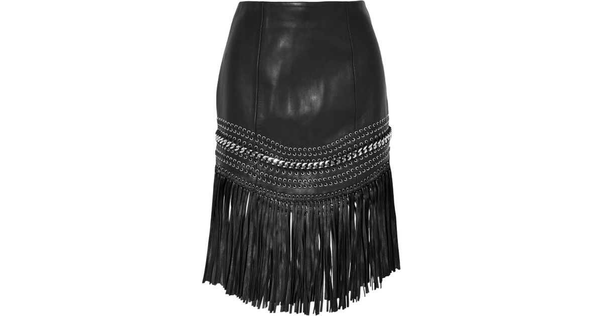 Order For Sale Fringed Embellished Leather Mini Skirt - Black Balmain Clearance Cheap Footaction 100% Guaranteed For Sale 1OfahZ19