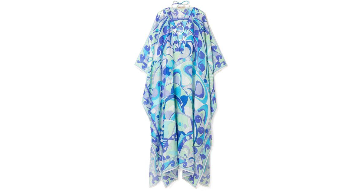 seda en Emilio azul algodón y de mezcla Lyst con Pucci estampado Kaftan adornado 0qFwr4v0