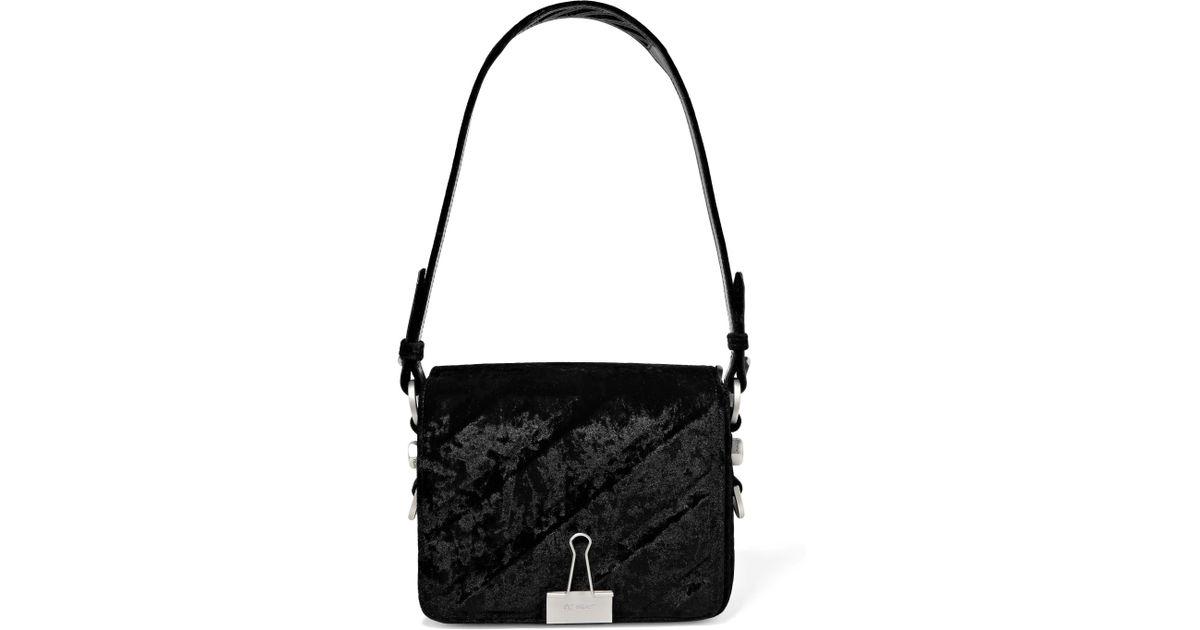 c1b18a72c3e37 Lyst - Off-White c o Virgil Abloh Embossed Velvet Shoulder Bag in Black
