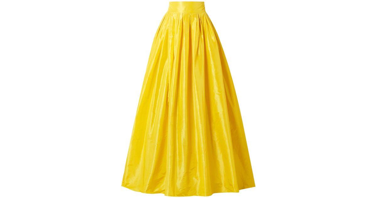 45f41f9393 Carolina Herrera Flared Pleated Silk-taffeta Maxi Skirt Yellow in Yellow -  Lyst