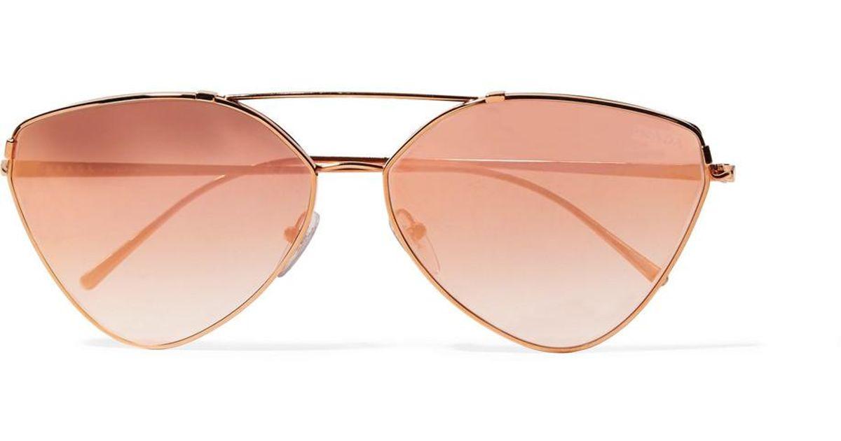 a0d0bced9573 ... ireland lyst prada cat eye rose gold tone mirrored sunglasses in pink  737c7 07574