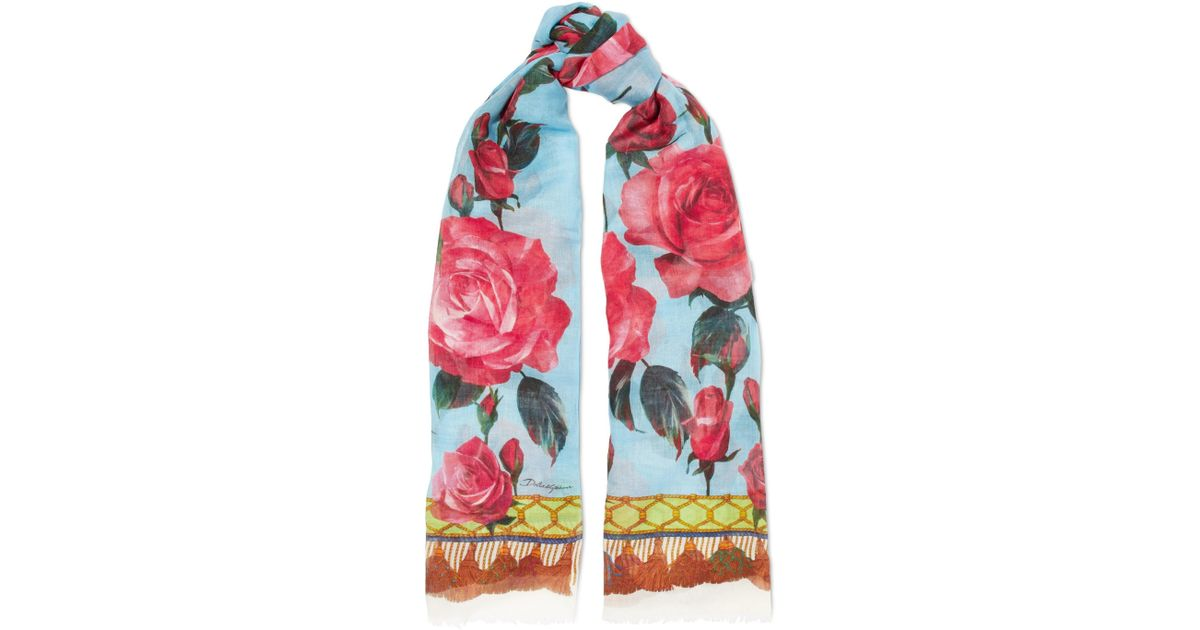 Maiolica Printed Modal And Cashmere-blend Scarf - Yellow Dolce & Gabbana Discount Best Seller Zxqkt4WIt