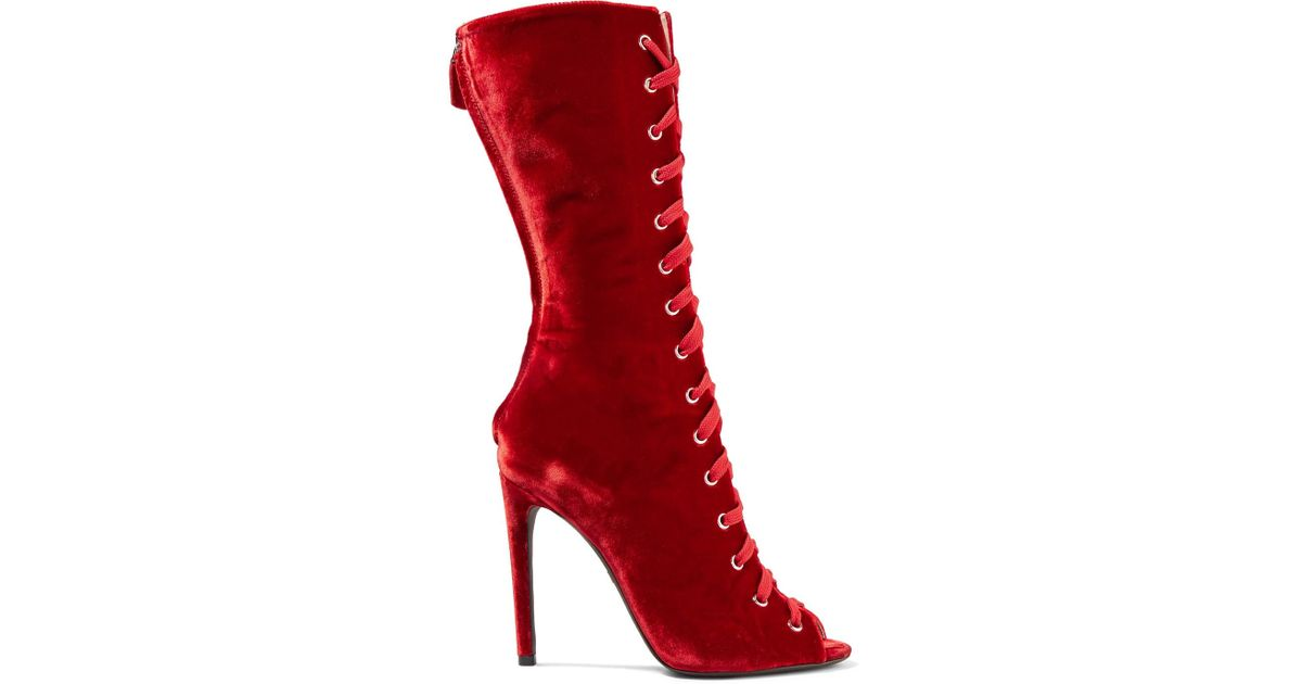 Lace-up Velvet Boots - Red Giambattista Valli rbgetmDRpW