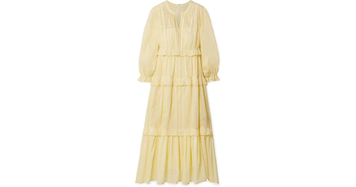 d1dbc45ccd Lyst - Étoile Isabel Marant Aboni Yellow Embroidered Cotton Dress in Yellow