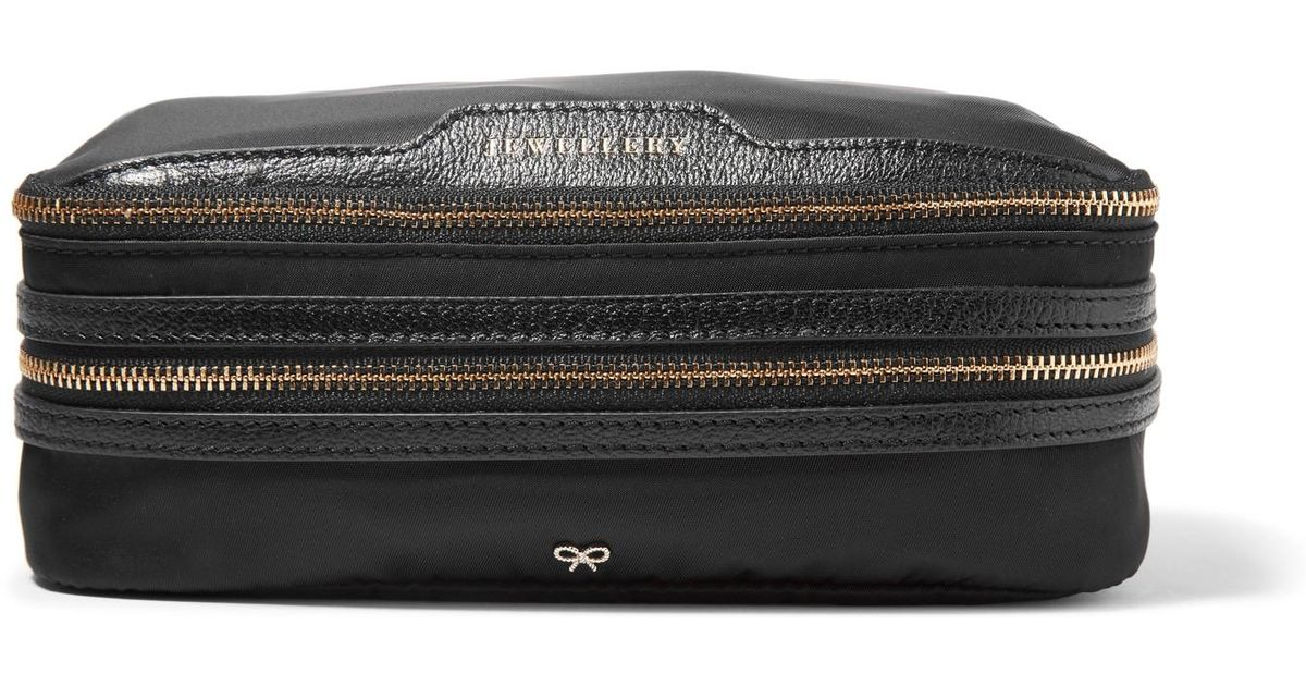 Anya Hindmarch Textured Leather-trimmed Shell Jewelry Case in Black - Lyst afa779861ad38
