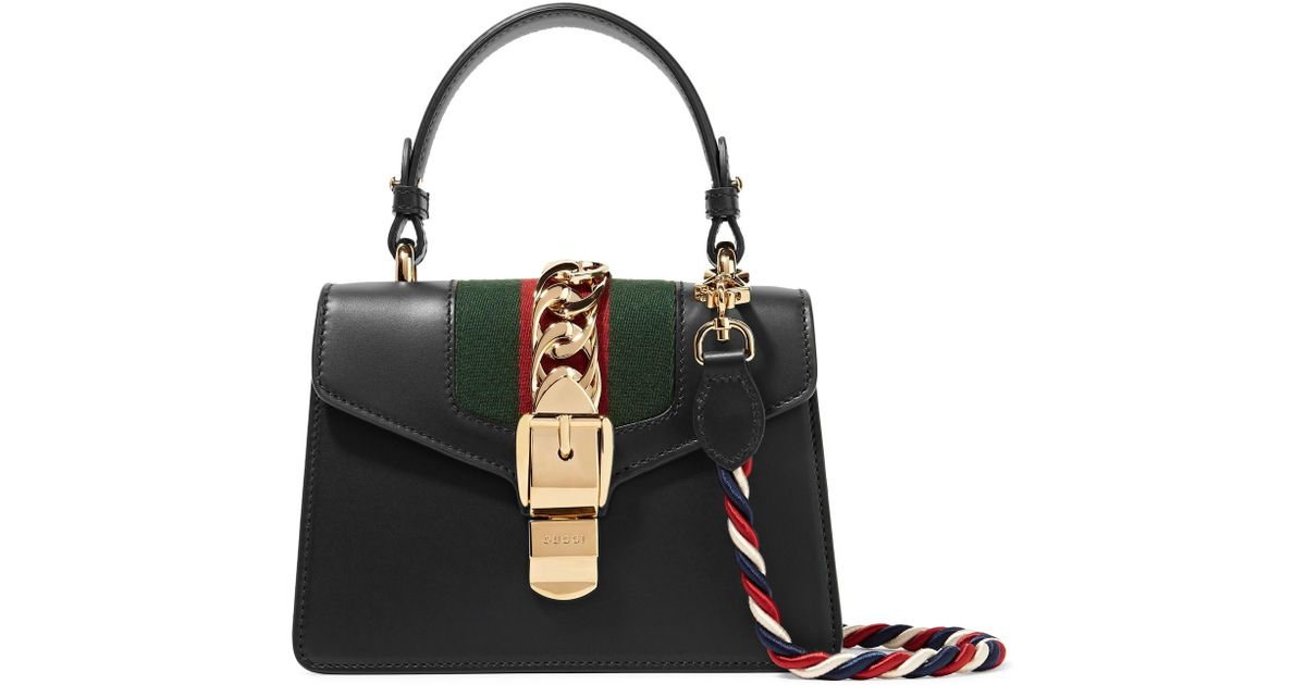 04cfe9ecabe438 Gucci Sylvie Mini Chain-trimmed Leather And Canvas Shoulder Bag in Black -  Lyst