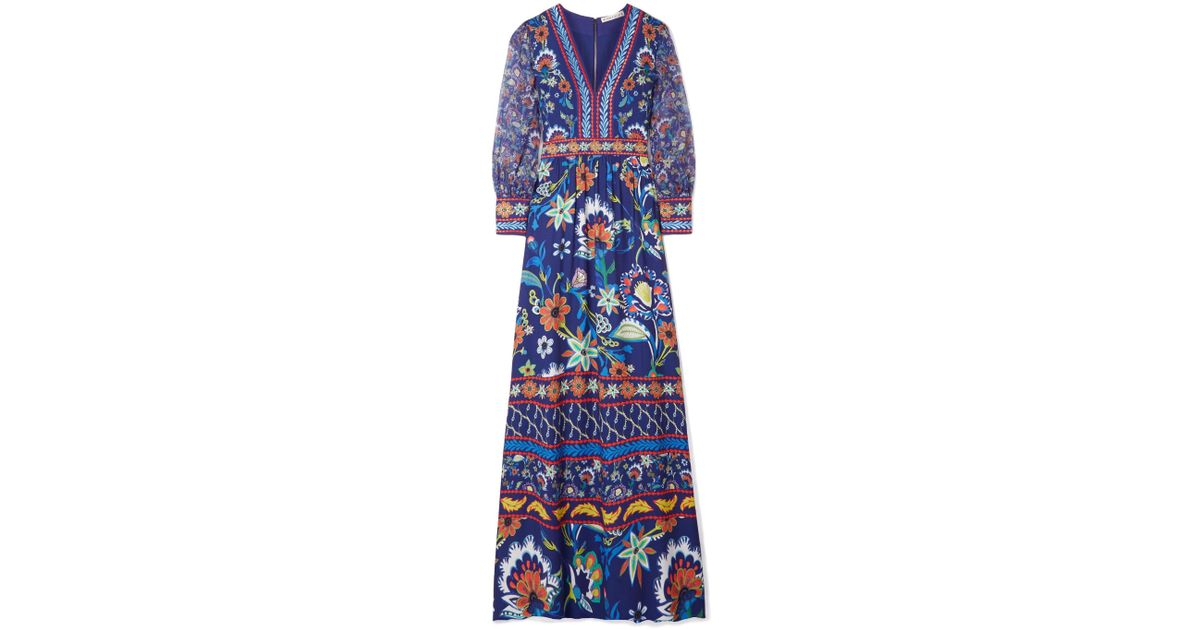 766a5e61f825c Alice + Olivia Jaida Embroidered Crepe And Silk-chiffon Maxi Dress in Blue  - Lyst