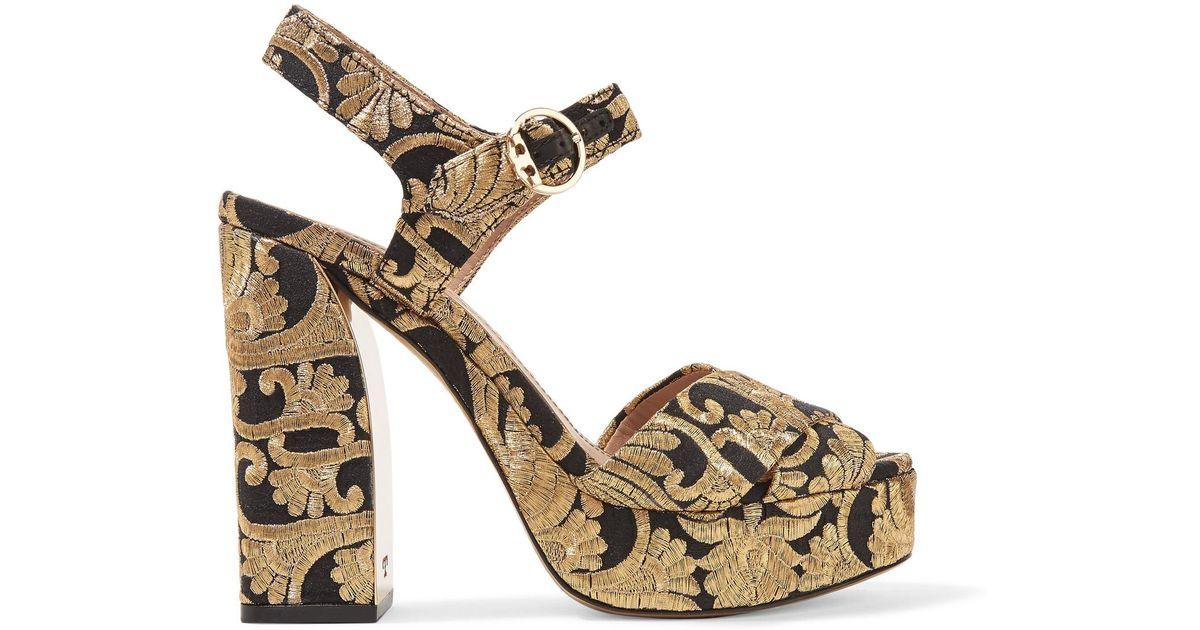 4e1d2f495 Lyst - Tory Burch Brocade Sandals in Metallic