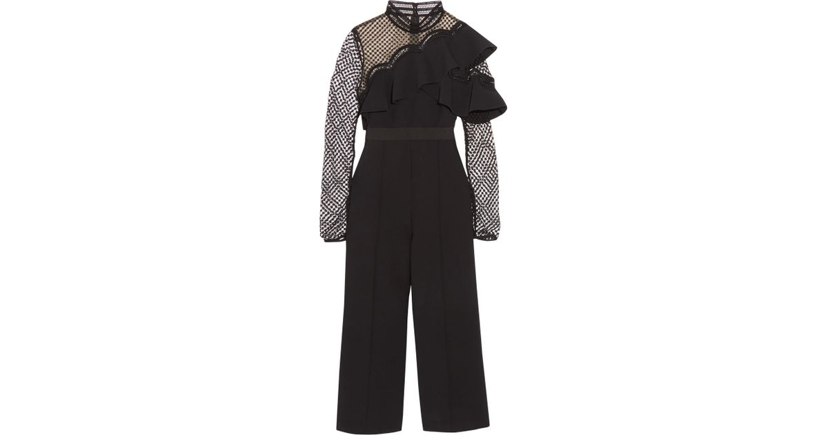c0eebe4dbf23 Self-Portrait Cropped Ruffled Guipure Lace And Crepe Jumpsuit in Black -  Lyst
