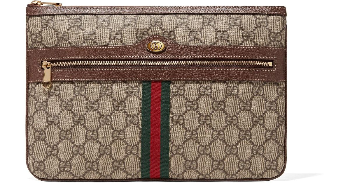 Ophidia Textured Leather-trimmed Printed Coated-canvas Pouch - Brown Gucci 5lpKxD7y