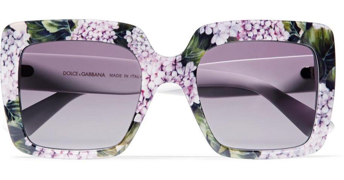 8dde7b68103 Lyst - Dolce   Gabbana Square-frame Printed Acetate Sunglasses in Purple