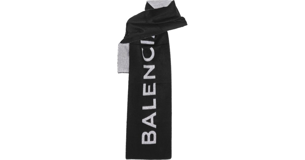 03bbc1d17961 Lyst - Balenciaga Cashmere And Wool-blend Scarf in Black