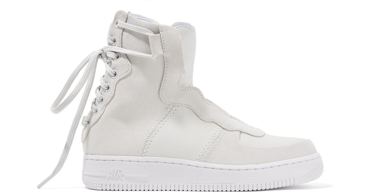58649f47964a Nike The 1 s Reimagined Air Force 1 Rebel Xx Suede And Leather High-top  Sneakers in White - Lyst